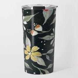Southwest Style Oval Floral Gouache Painting Travel Mug