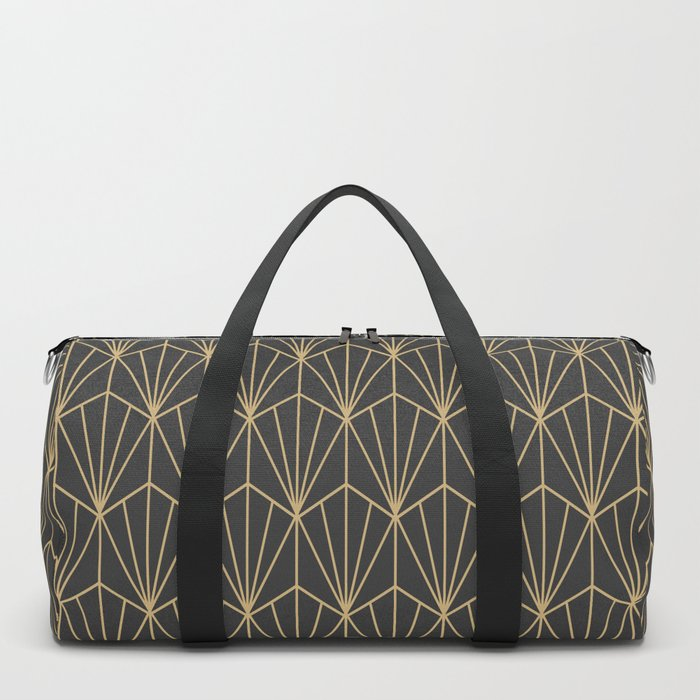 Art Deco Vector in Charcoal and Gold Duffle Bag