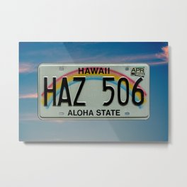 Hawaii License Plate Aloha State Rainbow Automotive Tag Metal Print