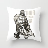 finland Throw Pillows featuring Thor of Finland by Randy Meeks