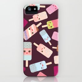 summer ice cream, ice lolly  Kawaii with pink cheeks and winking eyes iPhone Case