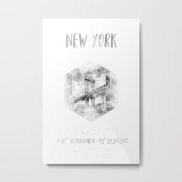 Coordinates NYC Manhattan Bridge | watercolor Metal Print