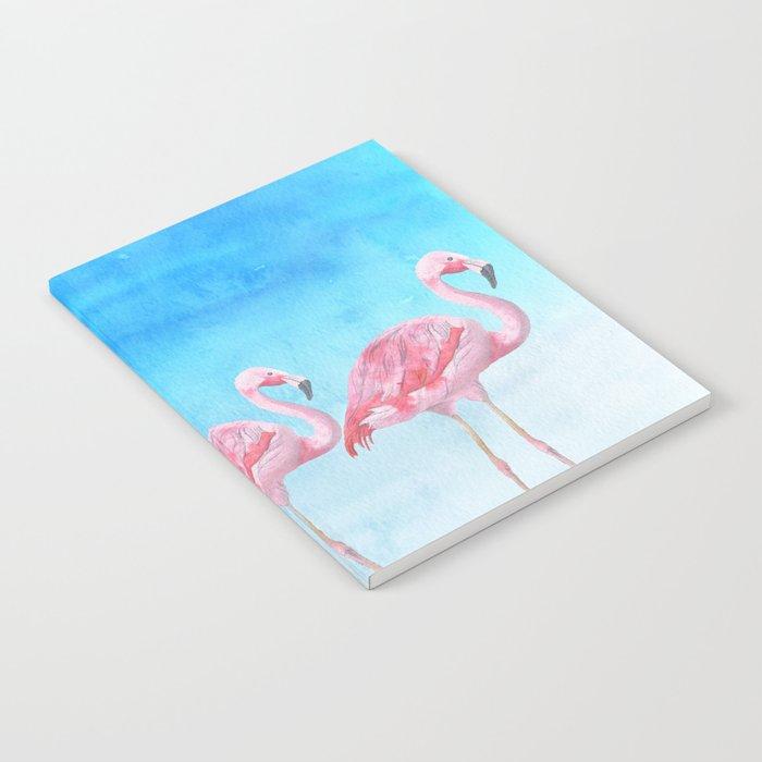 Flamingo Bird Summer Lagune - Watercolor Illustration Notebook