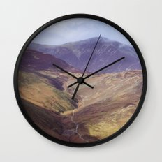 Distant tracks leading up a mountainside in Autumn. Cmbria, UK. (Shot on film). Wall Clock