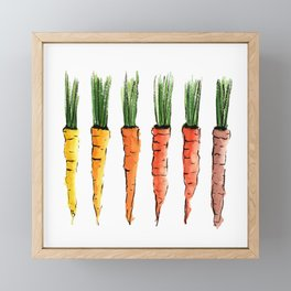 Happy colorful carrots Framed Mini Art Print