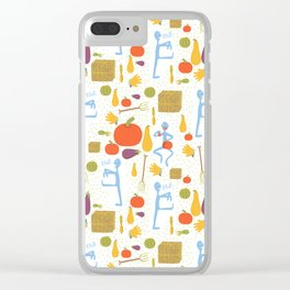 The not so scary vegetarian zombie  Halloween fabric pattern Clear iPhone Case
