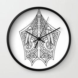 Huia Maori Art Kowhai Flower Wall Clock