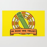simpsons Area & Throw Rugs featuring The Simpsons: In rod we trust by dutyfreak