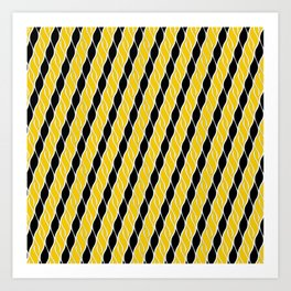Golden Yellow and Black Stripes Art Print