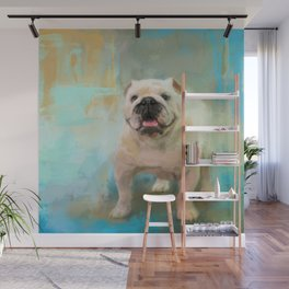 White English Bulldog Wall Mural