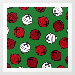 Jingle Bells Christmas Pattern in Red, White & Green Art Print