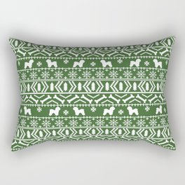 Bichon Frise christmas fair isle green dog silhouette minimal winter sweater holiday Rectangular Pillow