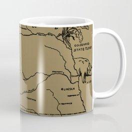 Vintage Illustrative Map of Nebraska (1912) - Tan Coffee Mug