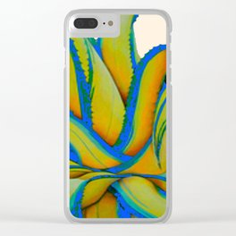 COLORFUL MODERN ABSTRACT AGAVE CACTUS ART Clear iPhone Case