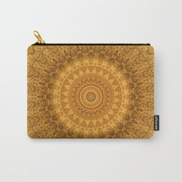 Sunflower Feather Bohemian Sun Ray Pattern \\ Aesthetic Vintage \\ Yellow Orange Color Scheme Carry-All Pouch