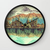 autumn Wall Clocks featuring The Unknown Hills in Kamakura by Kijiermono