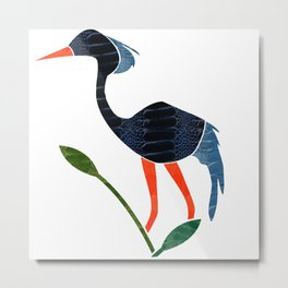 Blue Crane by Wilde Metal Print