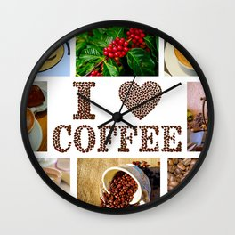 I Love Coffee Collage - Cafe or Kitchen Decor Wall Clock