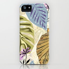 Tropical leaves and flowers iPhone Case