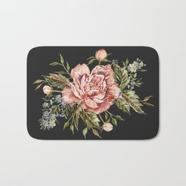 Pink Wild Rose Bouquet on Charcoal Bath Mat