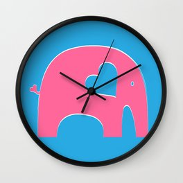 Pink and Blue Elephant Wall Clock