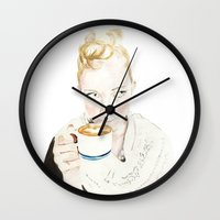 coffe Wall Clocks featuring Girl with coffe by Erica Salcedo Drawings