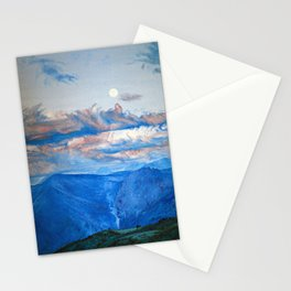 "Oil painting ""Full moon in mountain"" Stationery Cards"