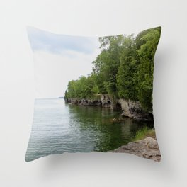 Cave Point County Park Throw Pillow