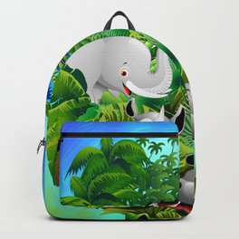 Wild Animals Cartoon on Jungle Backpack