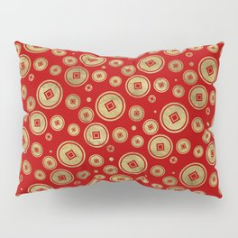 Chinese Coin Pattern Gold on Red Pillow Sham
