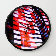 Abstract Red White and Blue Lights Wall Clock