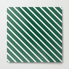 Teal The World (Green) Diagonal Stripes Metal Print