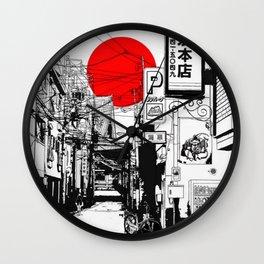 Tokyo street sunrise Wall Clock