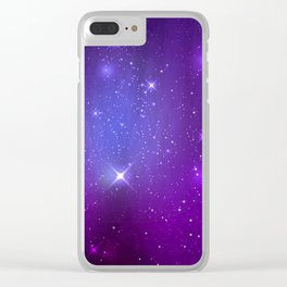 Fantasy Purple Night Sky Clear iPhone Case