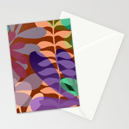 Red tropical leaves Stationery Cards