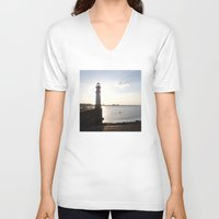 edinburgh V-neck T-shirts featuring Leith Lighthouse Edinburgh by RMK Creative