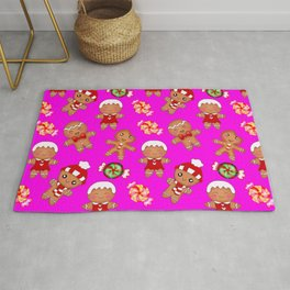 Cute decorative hygge pattern. Happy gingerbread men cookies and sweet xmas caramel toffee Rug