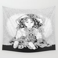 doll Wall Tapestries featuring Lovely Doll by Päivi Vikström