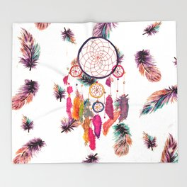 Hipster Watercolor Dreamcatcher Feathers Pattern Throw Blanket