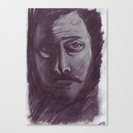 Shadowed man in charcoal Canvas Print