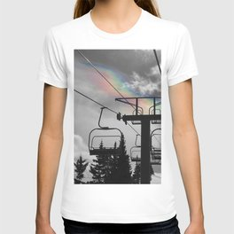4 Seat Chair Lift Rainbow Sky B&W T-shirt