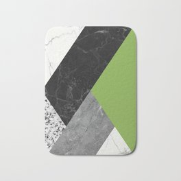 Black and White Marbles and Pantone Greenery Color Bath Mat