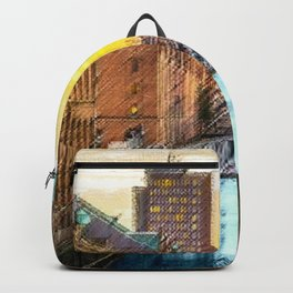Brick Industrial Homes on the Canal, Hamburg Germany Landscape Painting by Jeanpaul Ferro Backpack