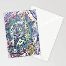 Sun Spiral Tribal Drawing Stationery Cards