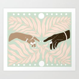Peaceful Green & Pink Leaves with Hands Illustration Art Print