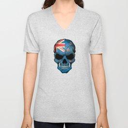 Dark Skull with Flag of New Zealand Unisex V-Neck