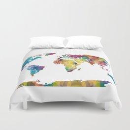 Geometric World Map Duvet Cover