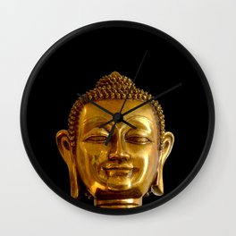 Golden Buddha by Lika Ramati Wall Clock