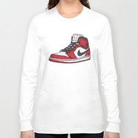 chicago bulls Long Sleeve T-shirts featuring Jordan 1 OG (Chicago) by Pancho the Macho