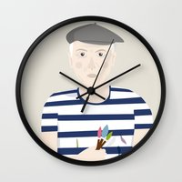 picasso Wall Clocks featuring Picasso by Judy Kaufmann